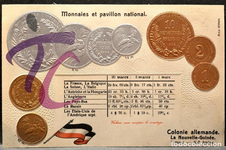 ANTIGUA POSTAL PABELLON NACIONAL FRANCIA MONEDAS DEL MUNDO ALEMANIA COLONIA NUEVA GUINEA (Postales - Postales Temáticas - Especiales)