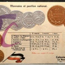 Postales: ANTIGUA POSTAL PABELLON NACIONAL FRANCIA MONEDAS DEL MUNDO ALEMANIA COLONIA NUEVA GUINEA. Lote 177529614