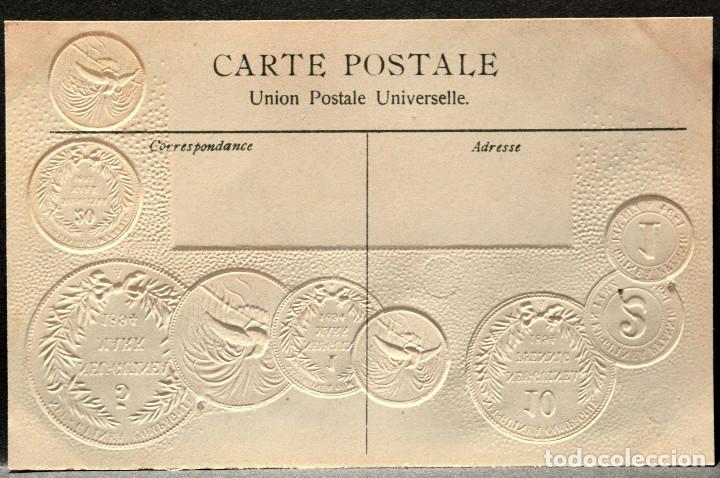 Postales: ANTIGUA POSTAL PABELLON NACIONAL FRANCIA MONEDAS DEL MUNDO ALEMANIA COLONIA NUEVA GUINEA - Foto 2 - 177529614
