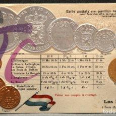 Postales: ANTIGUA POSTAL PABELLON NACIONAL FRANCIA MONEDAS DEL MUNDO PAISES BAJOS. Lote 177529619