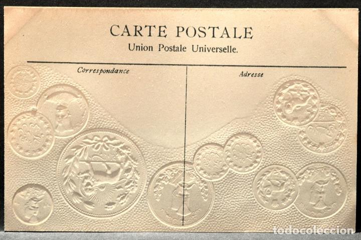 Postales: ANTIGUA POSTAL PABELLON NACIONAL FRANCIA MONEDAS DEL MUNDO PERSIA - Foto 2 - 177529629