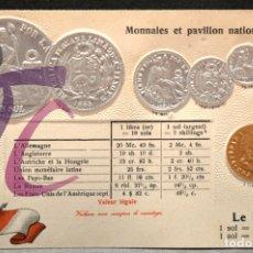 Postales: ANTIGUA POSTAL PABELLON NACIONAL FRANCIA MONEDAS DEL MUNDO PERU. Lote 177529630