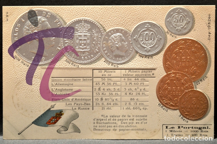 ANTIGUA POSTAL PABELLON NACIONAL FRANCIA MONEDAS DEL MUNDO PORTUGAL (Postales - Postales Temáticas - Especiales)