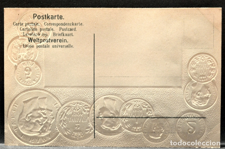 Postales: ANTIGUA POSTAL PABELLON NACIONAL FRANCIA MONEDAS DEL MUNDO SERVIA - Foto 2 - 177529653