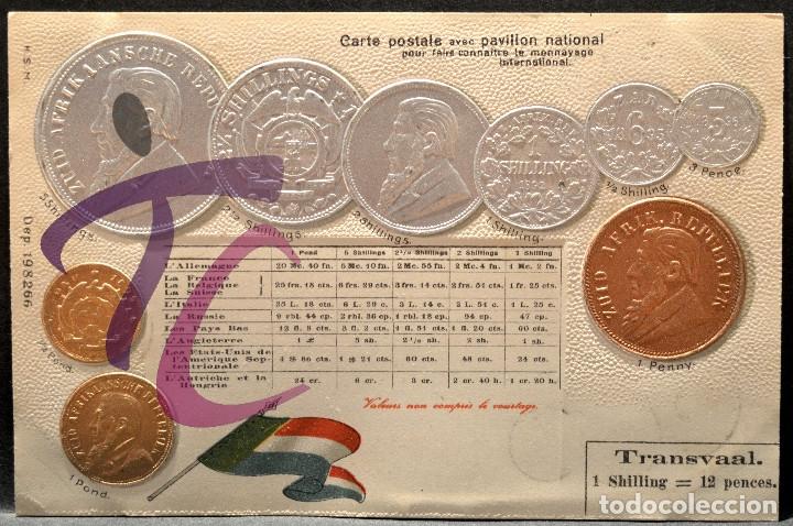 ANTIGUA POSTAL PABELLON NACIONAL FRANCIA MONEDAS DEL MUNDO SUDAFRICA (Postales - Postales Temáticas - Especiales)