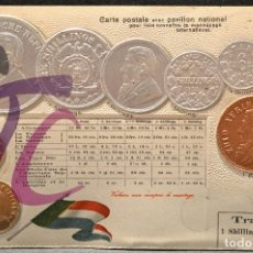 Postales: ANTIGUA POSTAL PABELLON NACIONAL FRANCIA MONEDAS DEL MUNDO SUDAFRICA. Lote 177529658