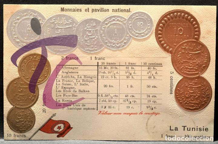 ANTIGUA POSTAL PABELLON NACIONAL FRANCIA MONEDAS DEL MUNDO TUNEZ (Postales - Postales Temáticas - Especiales)