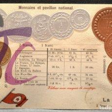 Postales: ANTIGUA POSTAL PABELLON NACIONAL FRANCIA MONEDAS DEL MUNDO TUNEZ. Lote 177529672