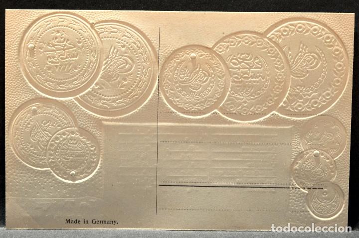 Postales: ANTIGUA POSTAL PABELLON NACIONAL FRANCIA MONEDAS DEL MUNDO TURQUIA - Foto 2 - 177529697