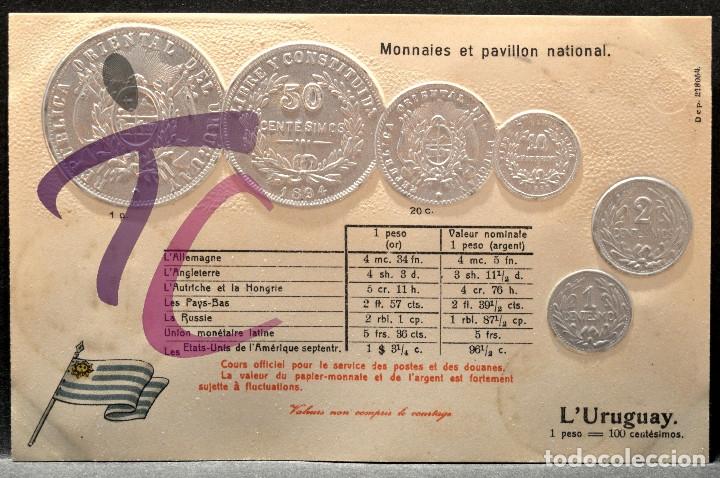 ANTIGUA POSTAL PABELLON NACIONAL FRANCIA MONEDAS DEL MUNDO URUGUAY (Postales - Postales Temáticas - Especiales)