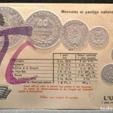 Postales: ANTIGUA POSTAL PABELLON NACIONAL FRANCIA MONEDAS DEL MUNDO URUGUAY. Lote 177529702