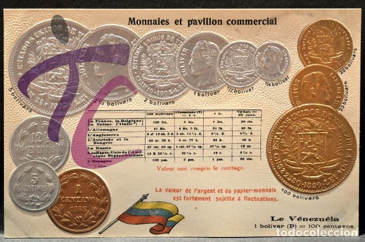 ANTIGUA POSTAL PABELLON NACIONAL FRANCIA MONEDAS DEL MUNDO VENEZUELA (Postales - Postales Temáticas - Especiales)