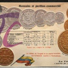 Postales: ANTIGUA POSTAL PABELLON NACIONAL FRANCIA MONEDAS DEL MUNDO VENEZUELA. Lote 177529710