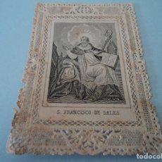 Postales: ANTIGUA ESTAMPA SAN FRANCISCO DE SALES TROQUELADA. Lote 181507873