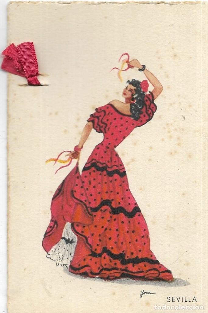 == N241 - BONITA POSTAL CON LAZO DE TELA - SEVILLA- 1945 (Postales - Postales Temáticas - Especiales)