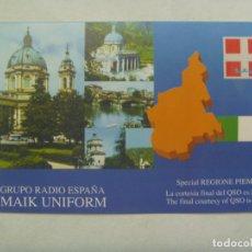 Postales: POSTAL DE RADIOAFICIONADO CON BANDERA DE ITALIA Y CONTORNO DEL PIAMONTE. ITALIA. Lote 182976008