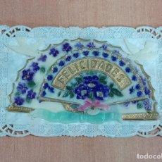 Postales: TARJETA FELICITACIONES. FELICIDADES. CELULOIDE Y CARTÓN. TROQUELADA. Lote 185988417