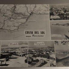 Postales: MALAGA COSTA DEL SOL COLECCION MAPAS DE BOLSILLO. FIRESTONE. AÑO 1960. MB1 COSTA DEL SOL. Lote 186362355