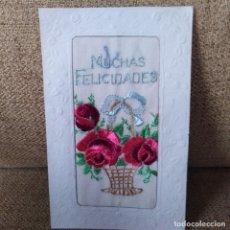 Postales: ANTIGUA POSTAL MODERNISTA, TROQUELADA Y BORDADA, AÑOS 20. Lote 188739988