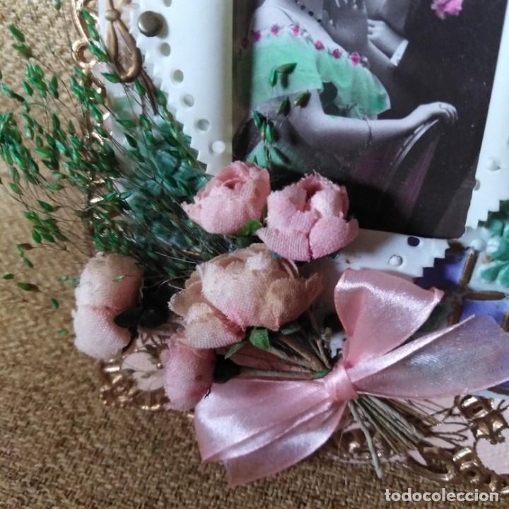Postales: Antigua postal modernista, troquelada, escena romántica, con flores superpuestas. años 20 - Foto 6 - 188740391