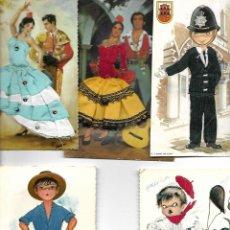 Postales: LOTE DE 5 POSTALES BORDADA. Lote 190983055