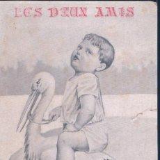 Postales: POSTAL LES DEUX AMIS - LOS DOS AMIGOS - DIBUJO NIÑO MONTADO EN CIGUEÑA. Lote 193670847