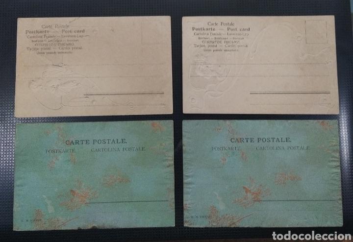 Postales: C R. LOTE DE 4 POSTALES ANTIGUAS EN RELIEVE, ESPECIALES!! - Foto 2 - 194077838