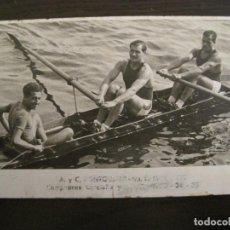Postales: REMO-CAMPEONES CATALUÑA Y ESPAÑA 1933 34 35-POSTAL FOTOGRAFICA ANTIGUA-VER FOTOS-(67.921). Lote 194874785