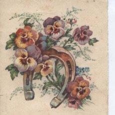 Postales: POSTAL ANTIGUA FLORES Y HERRADURA. CON PURPURINA. Lote 194997722