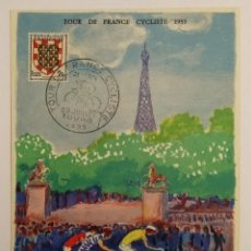 Postales: POSTAL KEES VAN DONGEN. TOUR DE FRANCIA 1955. CHATELLERAULT - TOURS. Lote 195429550