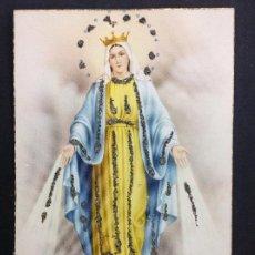 Postales: POSTAL VIRGEN DE LA MILAGROSA CON PEDRERIA BORDADA, AÑOS 20, PRECIOSA Y UNICA. Lote 195494791