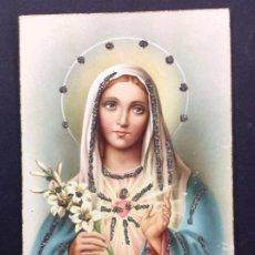 Postales: POSTAL DE LA VIRGEN MARÍA CON PEDRERIA BORDADA, AÑOS 20, PRECIOSA Y UNICA. Lote 195495725
