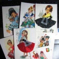 Postales: LOTE POSTALES VESTIDO BORDADO TELA HILO CIRCULADAS CON SELLO GALLARDA MARY MAY ELSI. Lote 196102958