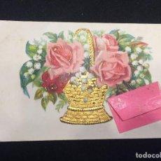 Postales: POSTAL CESTO DORADO FLORES FELICITACION SOBRE ROSA NO CIRCULADA PPIO S XX . Lote 196819175