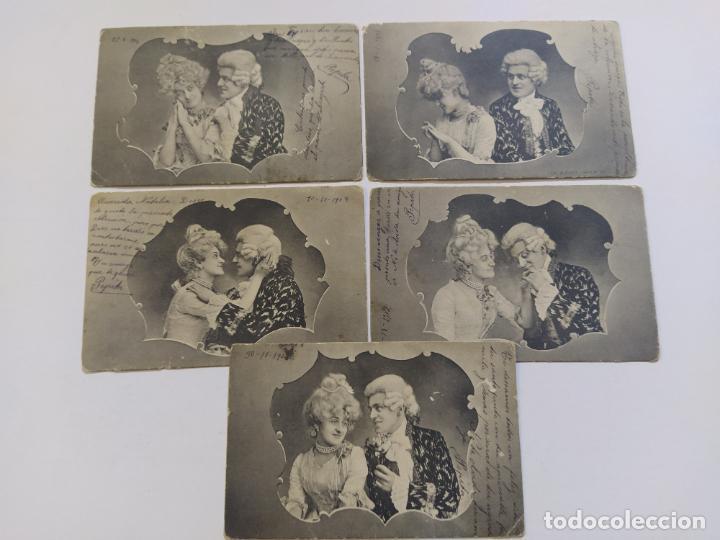 Postales: COLECCION DE 5 POSTALES ROMANTICAS-REVERSO SIN DIVIDIR-VER FOTOS-(68.698) - Foto 2 - 197047020