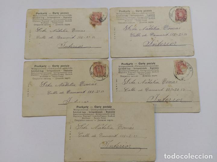 Postales: COLECCION DE 5 POSTALES ROMANTICAS-REVERSO SIN DIVIDIR-VER FOTOS-(68.698) - Foto 3 - 197047020