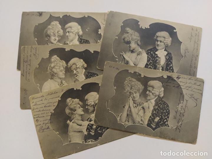 COLECCION DE 5 POSTALES ROMANTICAS-REVERSO SIN DIVIDIR-VER FOTOS-(68.698) (Postales - Postales Temáticas - Especiales)