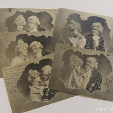 Postales: COLECCION DE 5 POSTALES ROMANTICAS-REVERSO SIN DIVIDIR-VER FOTOS-(68.698). Lote 197047020