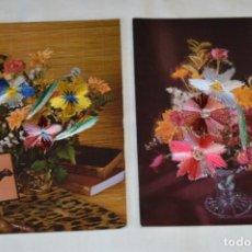 Postales: 2 POSTALES BORDADAS EN HILO - RAMOS DE FLORES - SIN CIRCULAR - ORIGINAL -- ¡MIRA!. Lote 198609602
