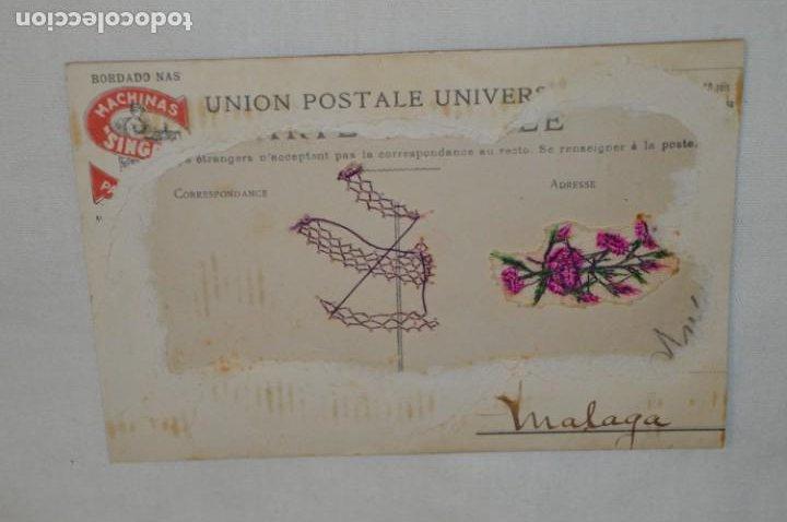 Postales: Antigua POSTAL de 1.908 / BORDADAS EN HILO - RAMO de FLORES - Circulada - Original -- ¡Mira! - Foto 3 - 198611020