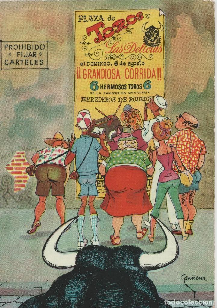 LOTE C- POSTAL HUMOR TOROS MATA SELLOS PALMA MALLORCA 1963 SELLOS EL CID DIFICILES SOBRE POSTAL (Postales - Postales Temáticas - Especiales)