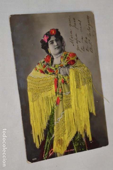 ANTIGUA POSTAL / PRINCIPIOS 1900 / BORDADAS EN HILO - TRAJE TÍPICO - CIRCULADA - ORIGINAL ¡MIRA! (Postales - Postales Temáticas - Especiales)