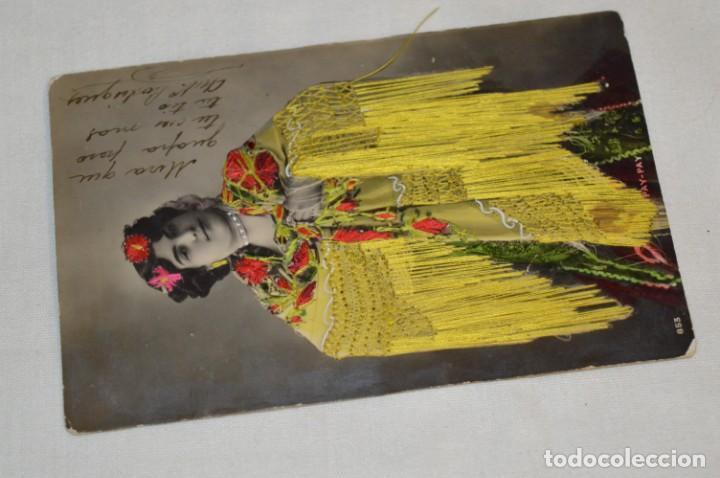 Postales: Antigua POSTAL / Principios 1900 / BORDADAS EN HILO - Traje típico - Circulada - Original ¡Mira! - Foto 2 - 198611652