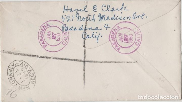 Postales: LOTE C- SOBRE CERTIFICADO SELLOS ESTADOS UNIDOS PASADENA CALIFORNIA NEW YORK 1950 - Foto 2 - 198611688