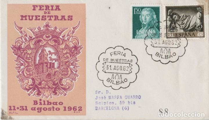 LOTE C- SOBRE CERTIFICADO SELLOS FERIA MUESTRAS BILBAO 1962 (Postales - Postales Temáticas - Especiales)
