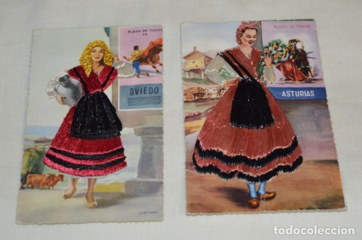 2 ANTIGUAS POSTALES / ASTURIAS / BORDADAS EN HILO - TRAJE TÍPICO - SIN CIRCULAR - ORIGINAL ¡MIRA! (Postales - Postales Temáticas - Especiales)