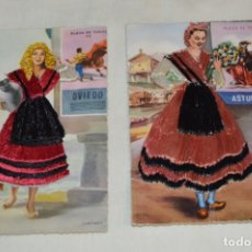 Postales: 2 ANTIGUAS POSTALES / ASTURIAS / BORDADAS EN HILO - TRAJE TÍPICO - SIN CIRCULAR - ORIGINAL ¡MIRA!. Lote 198612352