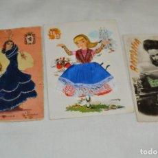 Postales: 3 ANTIGUAS POSTALES / / BORDADAS EN HILO - TRAJES TÍPICOS - CIRCULADAS - ORIGINALES ¡MIRA!. Lote 198612857