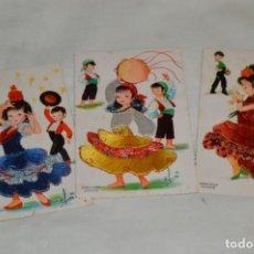 Postales: 3 ANTIGUAS POSTALES / / BORDADAS EN HILO - TRAJES TÍPICOS - SIN CIRCULAR - ORIGINALES ¡MIRA!. Lote 198613097
