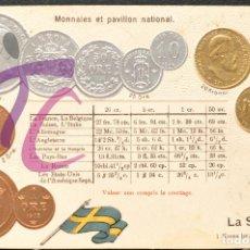 Postales: ANTIGUA POSTAL PABELLON NACIONAL FRANCIA MONEDAS DEL MUNDO SUECIA. Lote 199211140